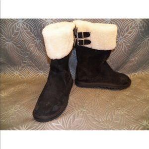 New Women UGG Beckham Black Sheepskin Buckle Boot